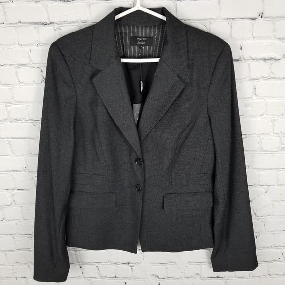 RW&Co.   Scarlett 2 button dark gray plaid blazer